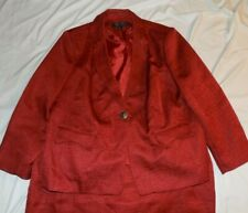 Signature by Larry Levine Women's Red  2 Piece Skirt Suit Size 22W