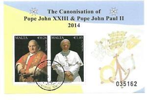 Malta ( Pope John XXIII & Pope John Paul II )  Cancelled Souvenir Sheet 2014
