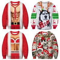 UGLY XMAS CHRISTMAS SWEATER Vacation Santa Dinosaur Women Men Sweatshirt Gift