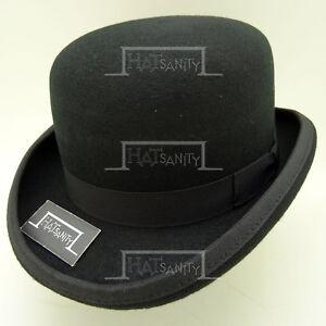 CLASSIC Wool Felt Dura Bowler Top Hat Men Women Derby Unisex | Black | 5 Sizes