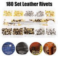 180 Stk Metall Leder Nieten Hohlnieten Doppel-Hohlnieten Ziernieten mit Werkzeug