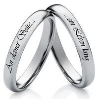 Eheringe Verlobungsringe Partnerringe aus Wolfram mit Ringe Lasergravur W748
