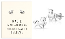 Sterling Silver Plated Unicorn Earrings with Quote Card in Gift Pouch
