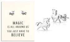 Sterling Silver Plated Unicorno Orecchini Con Scheda preventivo