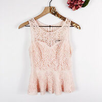 FOREVER21 Women's Blouse Peplum Top Sleeveless Delicate Pink Lace Size S