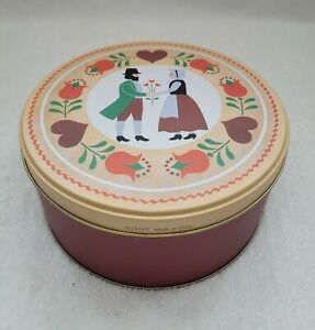 J.S.N.Y LOT OF 3 NESTING STACKING TINS PILGRAM COUPLE FLOWERS & HEARTS NICE GIFT