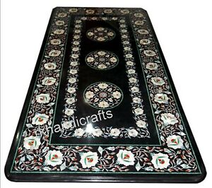 Mother of Pearl Art Kitchen Table Top Black Marble Coffee Table 24x 60 Inches