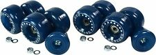 Blue Outdoor quad skate wheel kit w/bearings and fixed toe stops