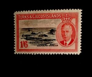 turks and caicos KGVI 1950 SG 230 1/6 Black & Scarlet Lightly Mounted Mint