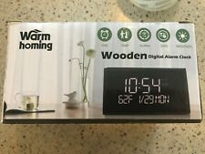 Warmhoming 2019 Updated Wooden Digital Alarm Clock with 7 Levels Black 2019