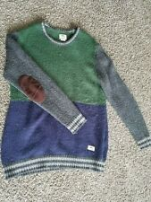 Used / Vans / Knit Panel Sweater w/ Elbow / Men's Size Large / Blue & Green
