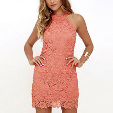 Womens Lace Bodycon Sleeveless Summer Cocktail Evening Party Short Mini Dress