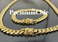 COMBO 10mm Men Miami Cuban Link Bracelet & Chain 14k Gold Plated Stainless Steel