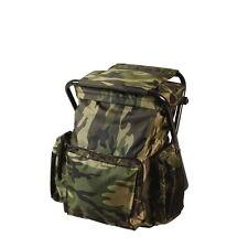 Woodland Camo Hiking Camping Backpack Daypack Rucksack Stool Combo Combination