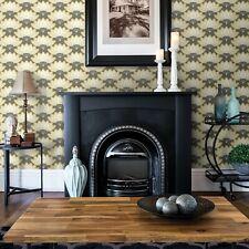 Brewster Lotus Mustard Yellow and Gray Floral Fans Wallpaper Modern Diy Grey