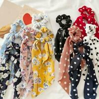 1PC Boho Print Ponytail Scarf Hair Bow Tie Floral Scrunchie Ribbon Hair Band New