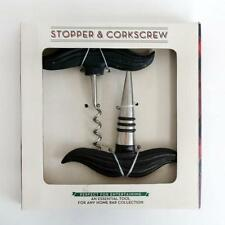 """Set Bottle """"Stopper And Corkscrew"""" with handles made in shape of must. Lot 25D"""