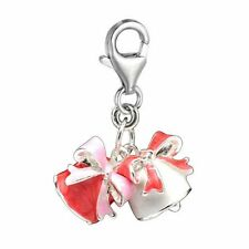 """Clip on """" Christmas Bells """" Charm Pendant for European Jewelry w/ Lobster Clasp"""