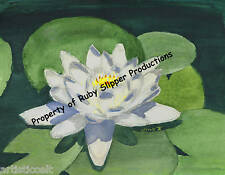 "WHITE WATER LILY by Artist NICOLE FOWLER 13""X 19"" High Quality CANVAS PRINT NEW!"