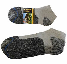 4 PAIR LOW CUT PREMIUM QUALITY HEAVY THICK SOCKS COTTON GRAY NO SHOW SOCKS