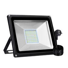 50W LED Fluter mit Stecker Außen Scheinwerfer Flutlicht Lampe Warmweiß IP65 DHL