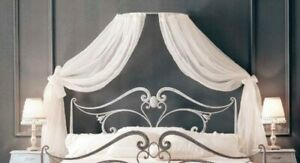 White Organza Bow adult Bed Canopy Crown Coronet Drapes & Frame Fits all beds