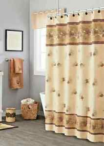 Saturday Knight Pinehaven Fabric Shower Curtain Pine Cones Branches Brown Lodge
