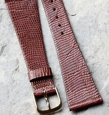 Varying pattern warm brown Genuine Lizard 22mm vintage watch strap Nos 1960s/70s