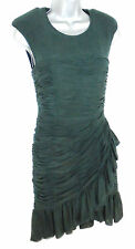 Stunning Whistles Green Silk Frill Evening Occasion Dress Size 6