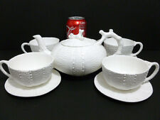 TEAPOT WHITE TEAPOT / CUP / SAUCERS SPECIAL DESIGN  HIGH QUALITY SET MARKED 6392