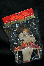 Vtg NIP OLD FASHIONED CORN DOLL Lady Sewing on Bench Fabric Thread Hand Made