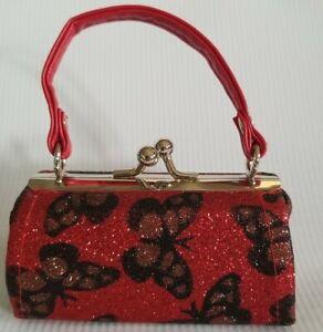 Lipstick Case Purse Red with Butterflies Doll Coin Purse Lip Stick Holder