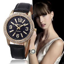 Geneva Women's Stainless Steel Watches Crystal Analog Leather Quartz Wrist Watch