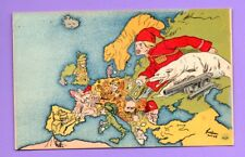 EUROPA MAP AND FACES PROPAGANDA RUSSIA TURKEY OTHERS COUNRIES VINTAGE PC.62