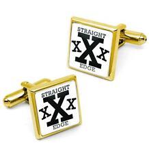 Gold Hardcore Straight Edge XXX Music Glass Drug Free Fists Cufflink Set w/ Box