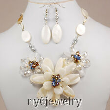 Natural Mother of Pearl Flower Pendant Long Necklace & Silver Tone Clasp 25""