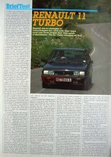 1984 RENAULT '11 Turbo' Car Auto Report Clipping (2-Sided Cutting)
