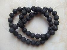 1filo/ 48pz  perline pietre di lava vulcanica tondo 8mm  colore nero