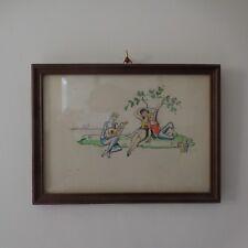 Dessin aquarelle sur papier scène de genre signé en bas à droite MALLOY