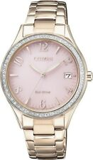 CITIZEN EO1183-84X Eco-Drive Ladies Solar Crystal Watch Pink Gold RRP $450.00