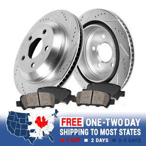 For FX35 M37 M56 Q70 Murano Quest Rear Drill Slot Brake Rotors + Ceramic Pads