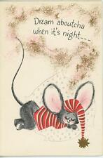 VINTAGE CUTE MOUSE DREAMING SLEEPING STRIPED SHIRT HAT TRUNDLE HOOP CARD PRINT