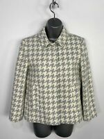 BNWT WOMENS ZARA SMALL WHITE MIX POPPER FASTEN SHORT SMART DOGTOOTH JACKET COAT