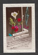 """c1930s Wedding Anniversary Card, Flowers & Ribbons """"Kind Thought"""""""