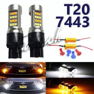 No Error Front Signal Light 7443 7444 Switchback LED w/ Load Resistor for Toyota