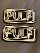 """Lot of (2) Pulp 1 1/2"""" x 3 1/4"""" Band Stickers White Black Fast Ship!"""