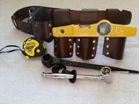 Heavy Duty Scaffolding Brown Leather Tool Belt Full Tools Set Black ratchet17&21