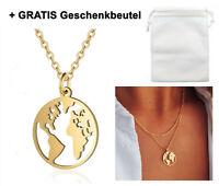 ☆ Weltkugel Erde Planet Gold ☆ Damen Halskette Gravur   Geschenkbeutel GRATIS