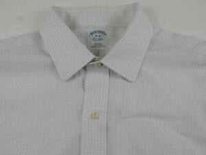 Brooks Brothers Mens No Iron Slim Fit LS Button Up Blue White Checkered Shirt 16