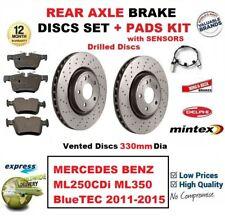 FOR MERCEDES ML250CDi ML350 BlueTEC 2011-2015 REAR BRAKE PADS + DISCS + SENSORS